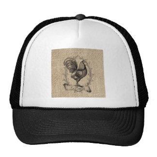 diseño negro y gris rústico del gallo en la arpill gorro