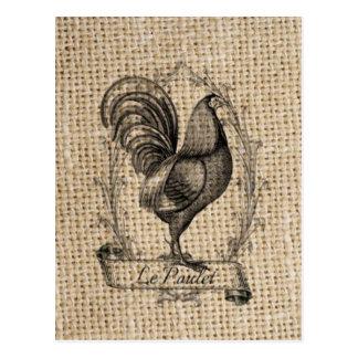 diseño negro y gris rústico del gallo en la arpill postal