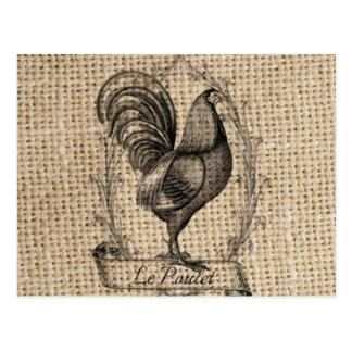 diseño negro y gris rústico del gallo en la arpill postales