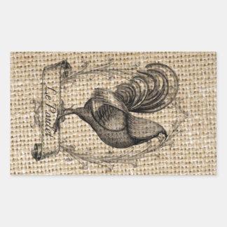 diseño negro y gris rústico del gallo en la pegatina rectangular