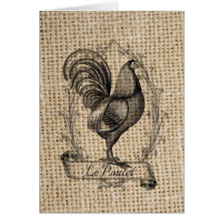 diseño negro y gris rústico del gallo en la tarjeta de felicitación
