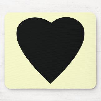 Diseño negro y poner crema del corazón del amor tapete de raton