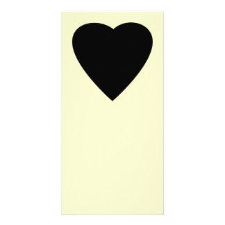Diseño negro y poner crema del corazón del amor tarjetas personales con fotos
