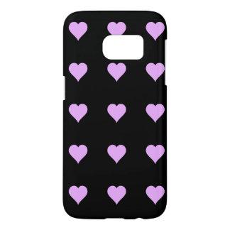 Diseño negro y rosado del gótico del corazón fundas samsung galaxy s7