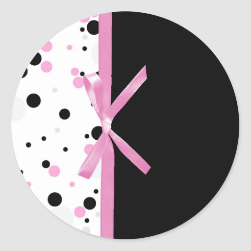 Diseño negro y rosado del lunar pegatina redonda