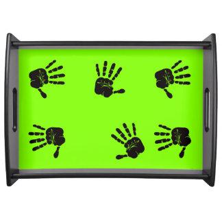 Diseño negro y verde de las impresiones de la mano bandejas