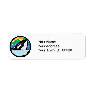 diseño nevoso del círculo de la orca etiqueta de remitente