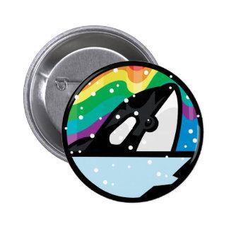 diseño nevoso del círculo de la orca pin redondo de 2 pulgadas