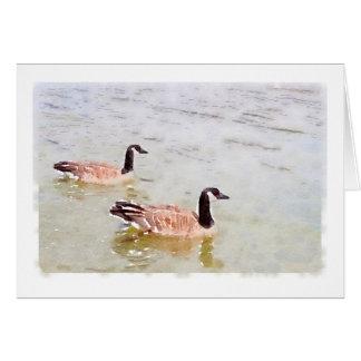 Diseño Notecard del Watercolour de los gansos de Tarjeta Pequeña