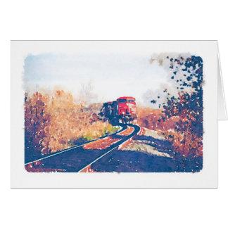 Diseño Notecard del Watercolour del tren del otoño Tarjeta Pequeña