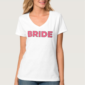 Diseño nupcial con cuello de pico de la camiseta poleras
