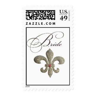 Diseño nupcial de la flor de lis sellos postales