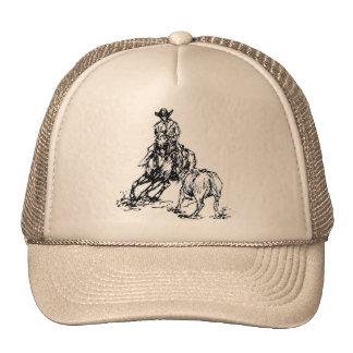 Diseño occidental del bosquejo del caballo del cor gorra