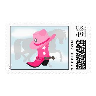 Diseño occidental rosado de la bota, del gorra y sello postal