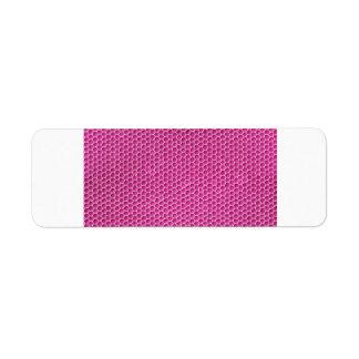 Diseño octagonal del panal del rosa purpurino etiqueta de remitente