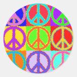 Diseño ondulado del signo de la paz pegatina redonda