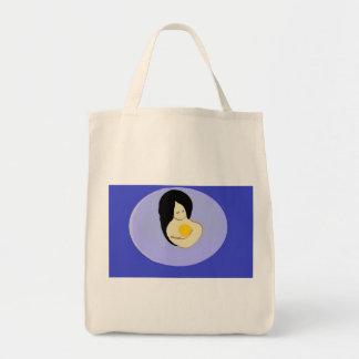 diseño orgánico de la madre y del niño del tote bolsa