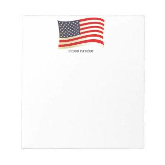 Diseño orgulloso de la bandera americana del patri libreta para notas