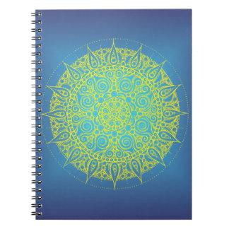 Diseño oriental azul/del amarillo bonito spiral notebooks