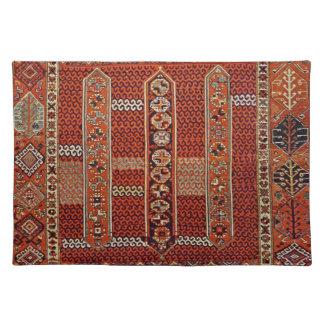 Diseño oriental de la manta en naranja manteles