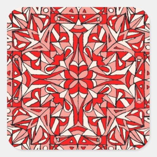 ¡Diseño oriental de la manta! Calcomanía Cuadradase