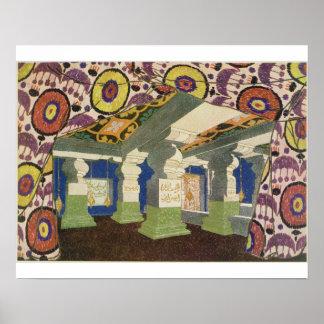 Diseño oriental del paisaje (litho) del color 2 poster