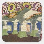 Diseño oriental del paisaje (litho) del color 2 pegatina cuadrada