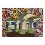 Diseño oriental del paisaje (litho) del color 2 tarjeta de felicitación