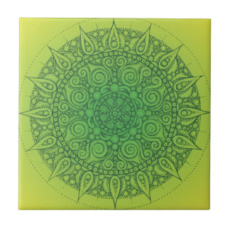 Diseño oriental verde bonito azulejo cuadrado pequeño