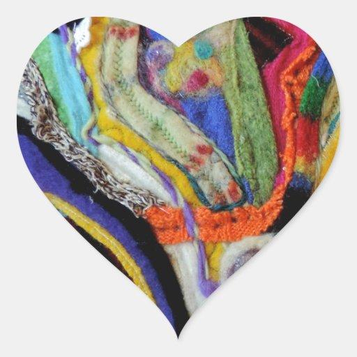 Diseño original colorido abstracto del arte de la pegatina en forma de corazón
