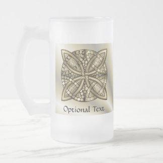 Diseño original del arte del nudo céltico del oro taza cristal mate