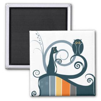 Diseño original del gato y del búho imanes de nevera