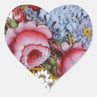 Diseño original del vintage de una cesta de la flo calcomania de corazon