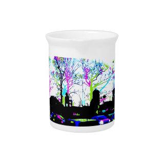 Diseño original fresco del horizonte urbano de jarras de beber
