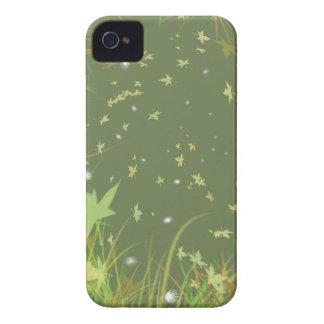 Diseño original verde de las hojas que remolina Case-Mate iPhone 4 carcasas