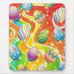 Diseño ornamental feliz de los huevos de Pascua Tapetes De Ratón