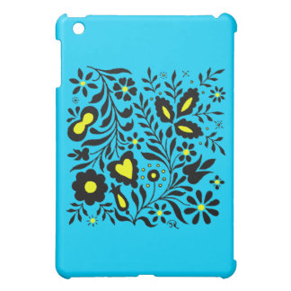 Diseño ornamental único en la caja azul del iPad