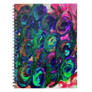diseño oscuro del diseño floral libro de apuntes con espiral
