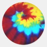 Diseño oscuro del teñido anudado etiqueta redonda