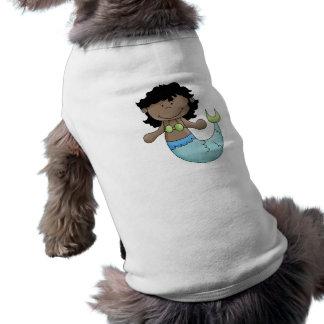 Diseño oscuro lindo de los pescados del chica de l playera sin mangas para perro
