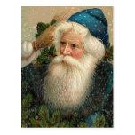 Diseño Papá Noel azul del vintage y nieve Postales