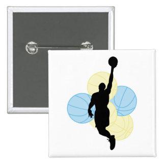 diseño para hombre de la silueta del voleibol pin cuadrada 5 cm