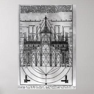 Diseño para la catedral de Milano Posters