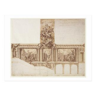Diseño para las paredes y la escalera (pluma del postal
