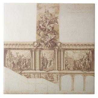 Diseño para las paredes y la escalera (pluma del t azulejo cuadrado grande