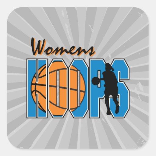 diseño para mujer del baloncesto de los aros pegatina cuadrada