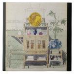 Diseño para un aparador, c.1860s-70s (w/c y lápiz azulejo cuadrado grande