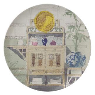Diseño para un aparador, c.1860s-70s (w/c y lápiz plato para fiesta