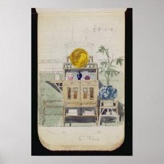 Diseño para un aparador, c.1860s-70s (w/c y lápiz póster