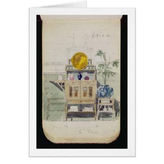Diseño para un aparador, c.1860s-70s (w/c y lápiz tarjeta de felicitación